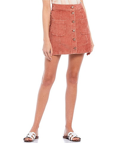 Roxy Warning Sign Corduroy Button Front Skirt