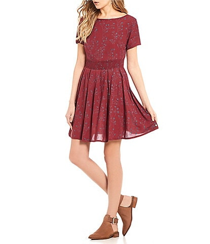 Roxy Wayga Guide Floral Print Fit and Flare Dress