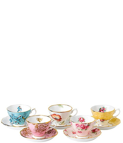 Royal Albert 100 Years 1950-1990 Teacups & Saucer (Set of 5)