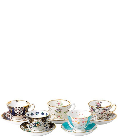 Royal Albert 100 Years Anniversary Collection 1900-1940 Teacups & Saucers (Set of 5)