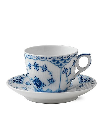 Royal Copenhagen Blue Fluted Half Lace Coffee Cup & Saucer