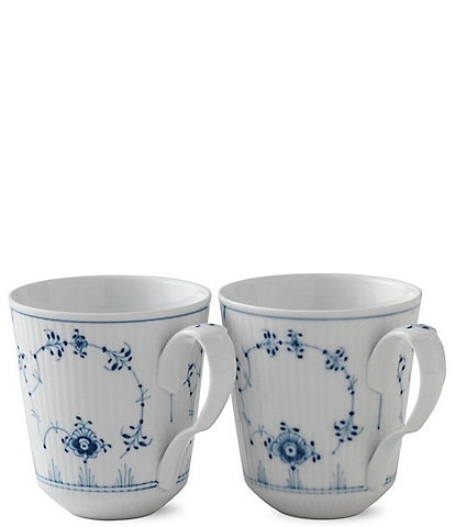 Royal Copenhagen Blue Fluted Plain Mugs, Set of 2
