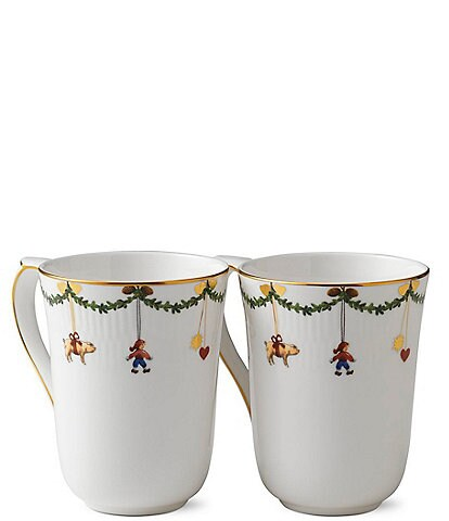 Royal Copenhagen Star Fluted Christmas Mugs, Set of 2