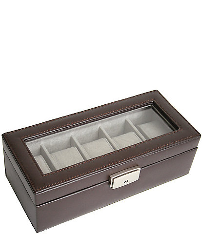 ROYCE New York Leather Five-Slot Watch Box