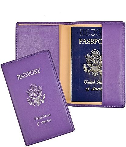 ROYCE New York Leather Foil-Stamped RFID Blocking Passport Jacket