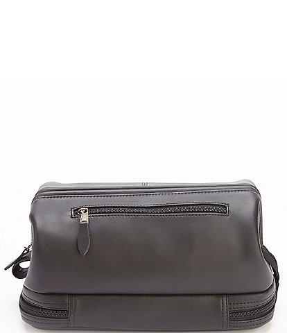 ROYCE New York Leather Toiletry Bag with Bottom Compartment