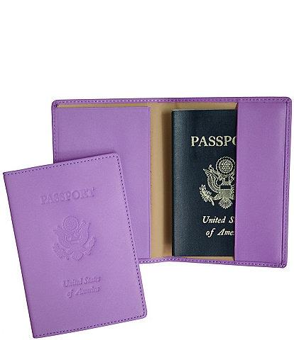ROYCE New York RFID Blocking Black Lettered Passport Case