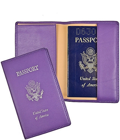 ROYCE New York RFID Blocking Gold Lettered Passport Case