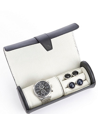 ROYCE New York Watch and Cufflink Leather Travel Roll