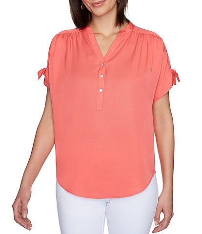 Ruby Rd. Banded Split V-Neck Tie Short Sleeve Top