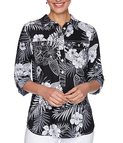 Ruby Rd. Black/White Tropical Print 3/4 Roll-Tab Sleeve Partial Button Front Shirt