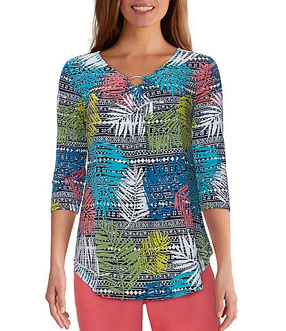 Ruby Rd. Colorful Tropical Print Ring V-Neck Detail 3/4 Sleeve Top