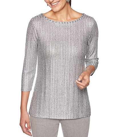 Ruby Rd. Dotted Line Foil Print Knit Top