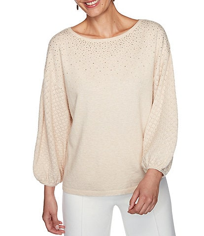 Ruby Rd. Embellished Ballet Neck Balloon Sleeve Cozy Sweater