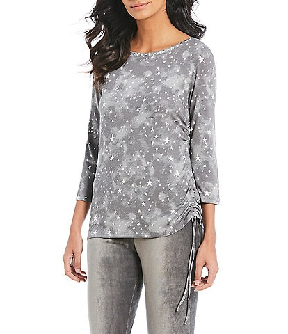 Ruby Rd. Embellished Ballet Neck Starry Night Print Side Ruching Top