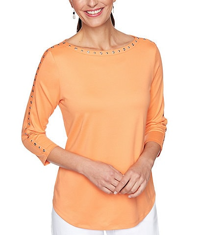 Ruby Rd. Embellished Bateau Neck 3/4 Sleeve Solid Basic Top