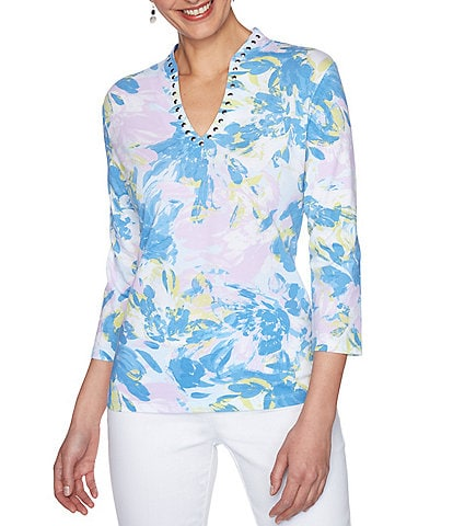 Ruby Rd. Embellished Funnel Neck Spring Blossom Print 3/4 Sleeve Top
