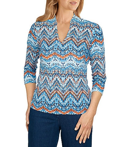 Ruby Rd. Embellished V-Neck Texture Chevron Print 3/4 Sleeve Top