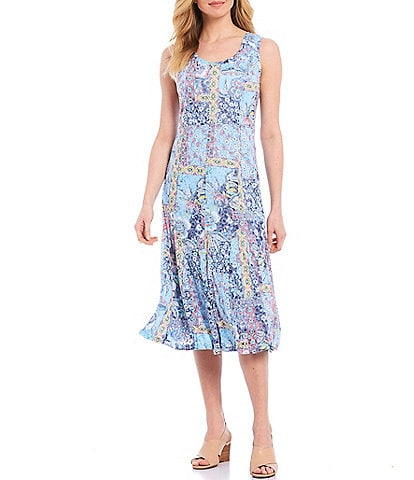 Ruby Rd. Entwined Garden Patchwork Print Burnout Scoop Neck Sleeveless Cotton Blend Dress