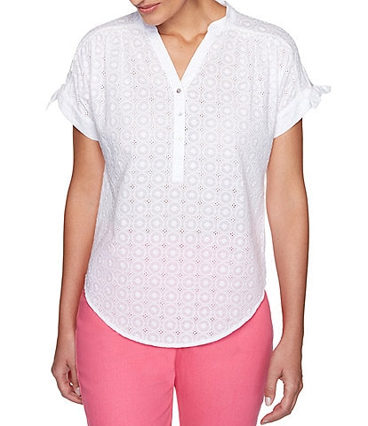Ruby Rd. Eyelet Cotton Extended Short Sleeve Woven Top