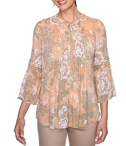Ruby Rd. Floral Print Silky Slub Pintuck Front Detail 3/4 Flounce Sleeve Top