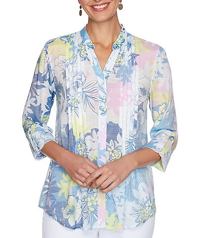 Ruby Rd. Floral Print Silky Slub Roll-Tab Sleeve Pleat Detail Button Down Top