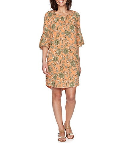 Ruby Rd. Floral Vine Print Cinched Boat Neck Lace Trim 3/4 Bell Sleeve Shift Dress