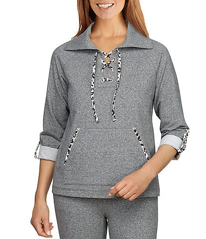 Ruby Rd. French Terry Textural Leopard Print Trim Lace Up 3/4 Roll-Tab Sleeve Point Collar Pullover