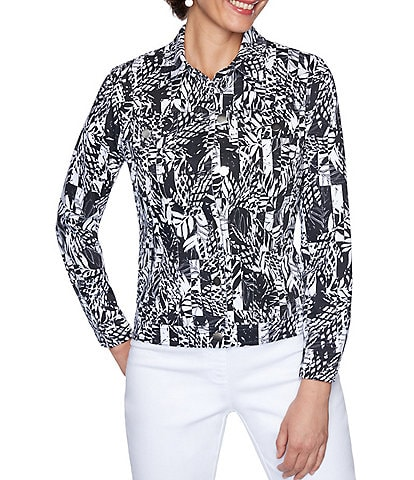 Ruby Rd. Graphic Paradise Print Knit Twill Button Front Jacket