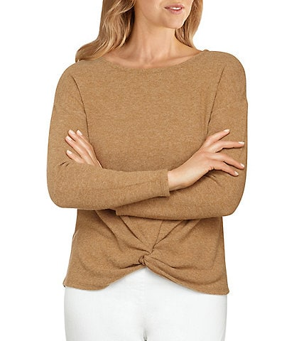 Ruby Rd. Heather Knit Round Neck Knot Front Detail Long Sleeve Top