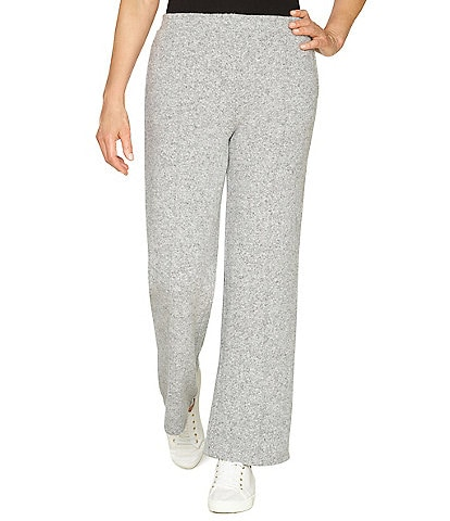 Ruby Rd. Heather Knit Wide-Leg Mid Rise Pull-On Pants