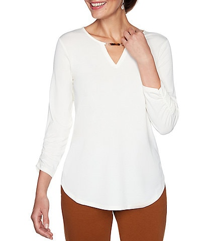 Ruby Rd. Keyhole Neck 3/4 Ruched Sleeve Top