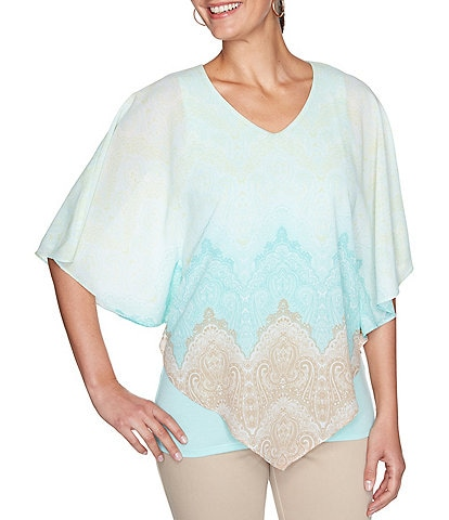 Ruby Rd. Lace Print V-Neck 3/4 Sleeve Butterfly Top