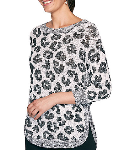 Ruby Rd. Leopard Jacquard Crew Neck 3/4 Sleeve Hi-Low Cotton Blend Sweater Top