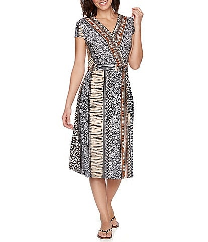 Ruby Rd. Mixed Animal Print V-Neck Short Sleeve Belted Midi Dress