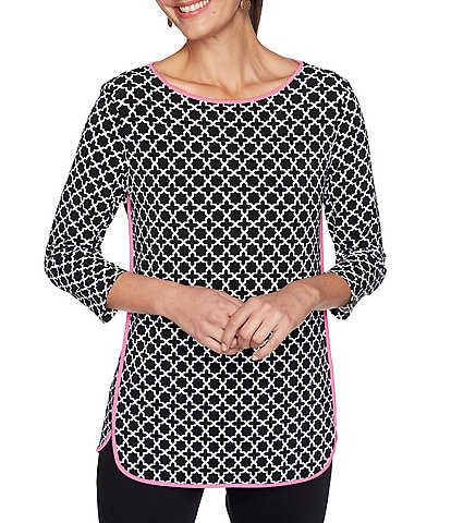 Ruby Rd. Moroccan Tile Print Jewel Neck 3/4 Sleeve Top