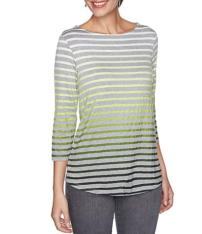 Ruby Rd. Ombre Stripe Heather Knit Jersey Boat Neck 3/4 Sleeve Top