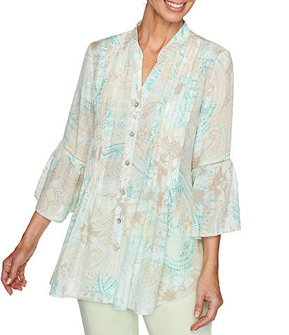 Ruby Rd. Paisley Floral Print 3/4 Bell Sleeve Split V-Neck Button Front Top