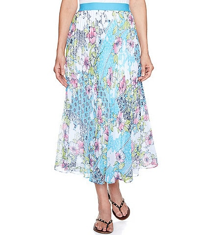 Ruby Rd. Patchwork Medallion Floral Print Georgette Lined Pleated Skirt