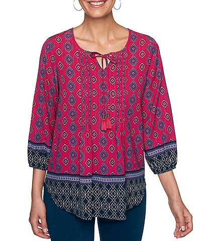 Ruby Rd. Petite Size Batik Border Print Tassel Tie Notch V-Neck 3/4 Sleeve Top