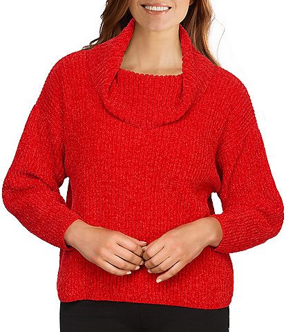 Ruby Rd. Petite Size Chenille Cowl Neck Long Dolman Sleeve Sweater