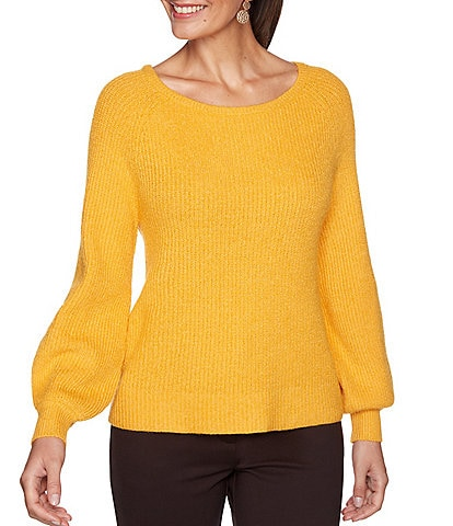 Ruby Rd. Petite Size Cozy Raglan Puff Sleeve Boat Neck Pullover Sweater