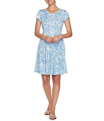 Ruby Rd. Petite Size Dotted Floral Puff Print Round Neck Short Sleeve A-Line Dress