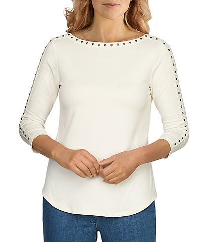 Ruby Rd. Petite Size Embellished Boat Neck 3/4 Sleeve Peached Stretch Jersey Top