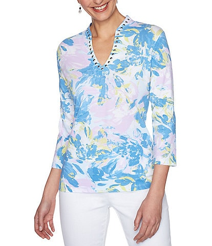 Ruby Rd. Petite Size Embellished Funnel Neck Spring Blossom Print 3/4 Sleeve Top