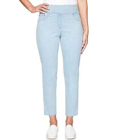 Ruby Rd. Petite Size Extra Stretch Denim Straight Leg Pull-On Ankle Pants