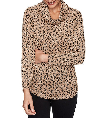 Ruby Rd. Petite Size Eyelash Leopard Print Cowl Neck Long Sleeve Top