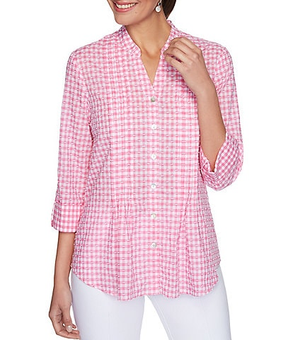 Ruby Rd. Petite Size Gingham Textured Clip Roll-Tab Sleeve Pintuck Detail Button Down Cotton Shirt