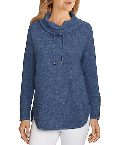 Ruby Rd. Petite Size Heather Knit Drawstring Cowl Neck Long Sleeve Pullover