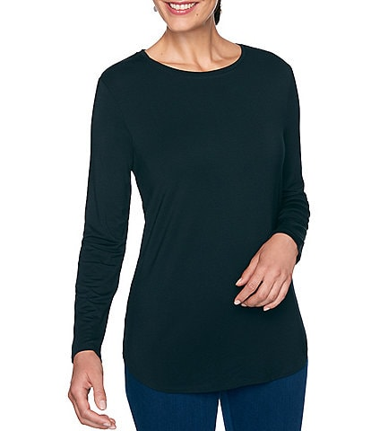 Ruby Rd. Petite Size Knit Jersey Round Neck Long Sleeve Top